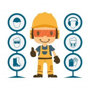 48393526 - construction worker repairman thumb up, safety first, health and safety warning signs, vector illustrator