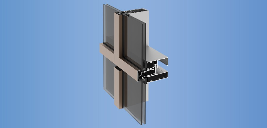 YUW 750 TU - Thermally Broken Unitized Curtain Wall System with Polyamide Plates