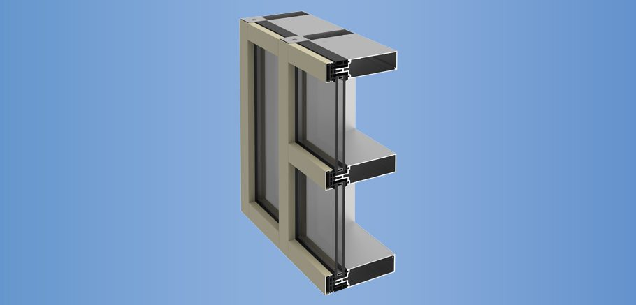 YCW 752 OGP - Outside Glazed Pressure Wall System with Polyamide Pressure Plates
